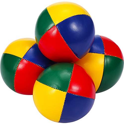 Gejoy 4 Stück Jonglierbälle für Anfänger, Mini Jonglierbälle Set, Sanft Leicht Jonglierbälle, Multifarbe Dauerhaft Jonglierbälle für Jungen Mädchen Erwachsene