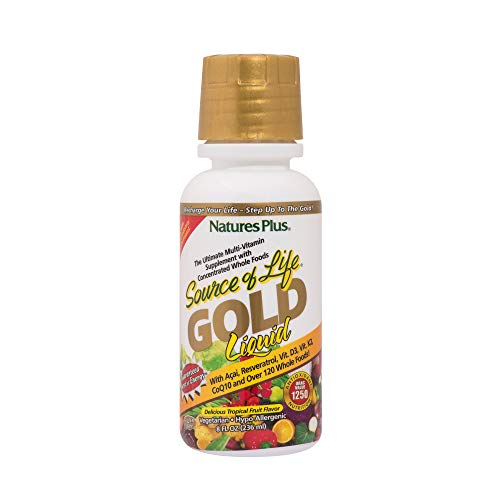 NaturesPlus Source of Life Gold - All Natural Whole Food Multivitamin, Complete Daily Vitamin Profile, Energy Booster, Immune Support - Gluten Free (236ml)