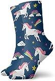 Chaussettes de Nouveauté pour Hommes Licorne Étoiles Arc en Ciel de Coton Chaussettes de Coton Drôles de Chaussettes Habillées pour le Sport