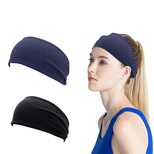 kuou - Diadema deportiva para mujer, ligera, suave, elástica, elástica, para la cabeza, unisex, para ejercicio, (negro y azul oscuro)