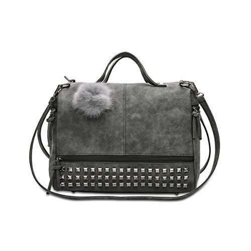 NICOLE & DORIS Umhängetasche für Damen Henkeltasche Boston-Taschen Einkaufstasche, Schultertasche mit Bommel Schwarz
