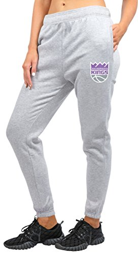 NBA Jogger–Pantalones de la mujer Relax Fit Pantalón deportivo para forro polar, equipo Logo Gris - FFL3341F-SK-Medium, Heather Gray