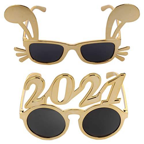 """KESYOO 2 Peças Ã""""culos de Feliz Ano Novo 2021 Ã""""culos de Sol Redondos de Festa Adereços Ã""""culos Novidade Ã""""culos para 2021 Materiais de Festa de Véspera de Ano Novo"""