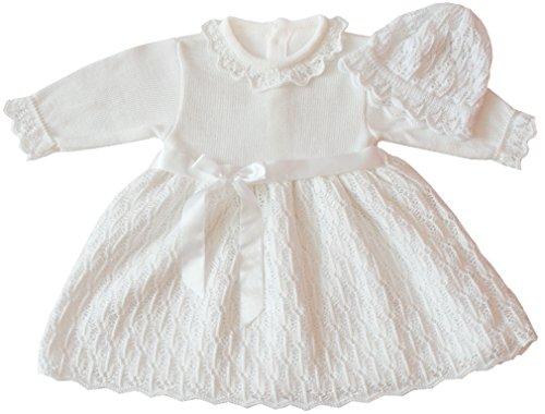 deine-Brautmode Taufkleid Strickkleid Festkleid Mädchen Babykleid Baby Taufe gestricktes Kleid, Emilia 74