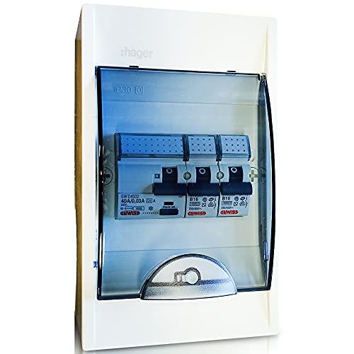 Hager - Caja de fusibles con interruptor FI 30 mA y 2 fusibles automáticos de 16 A para caravana y autocaravana 250 V