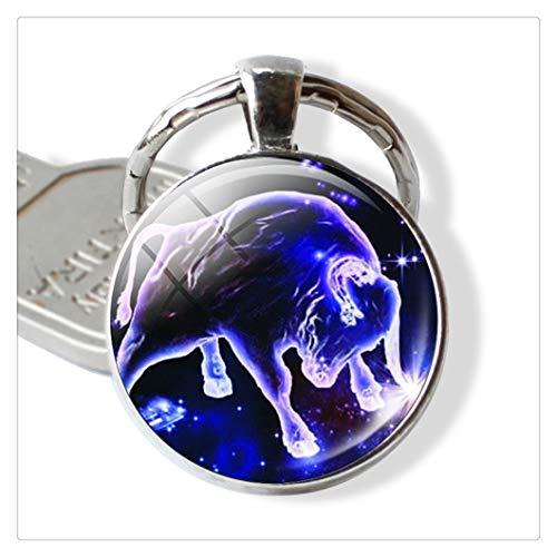 12 Constellations Keychain Constellation Schlüsselanhänger Zeichen Schlüsselkettenanhänger Mode Geburtstags-Geschenk (Color : Taurus)