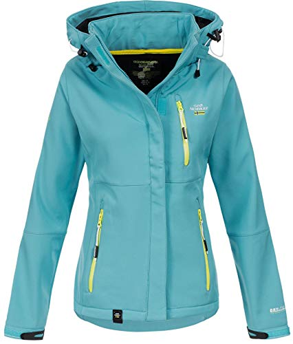 Geographical Norway Damen Outdoor Softshelljacke Touna B Kapuze Turquoise L