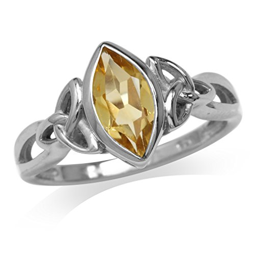 Silvershake Genuine Citrine White Gold Plated 925 Sterling Silver Triquetra Celtic Knot Solitaire Ring Size 12
