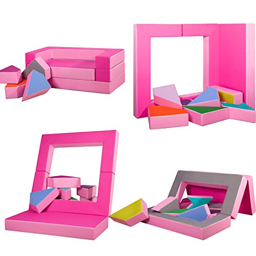 millybo Spielsofa 4in1 Couch Kindersofa Puzzle Kinderzimmersofa Spielmatratze fürs Kinderzimmer Kindermöbel Spielpolster (pink/rosa)