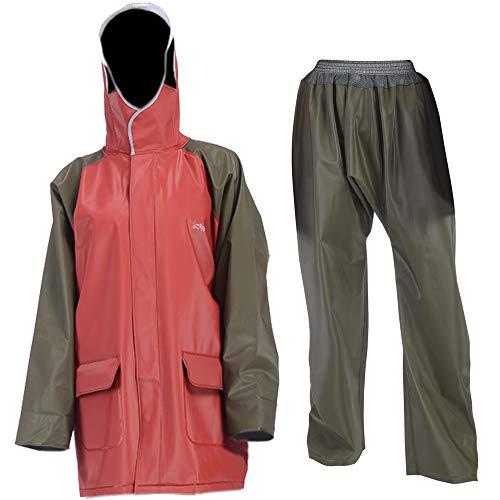 GontMear Deluxe Regenanzug für Herren und Damen, strapazierfähig, Arbeitskleidung, wasserdichte Jacke und Hose, rot, X-Large (6'2
