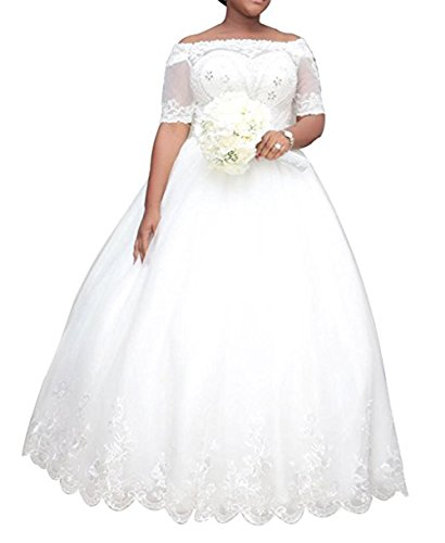 WeddingDazzle Women's Plus Size Wedding Dresses for Bride Ball Gown Bridal Dress14 Ivory
