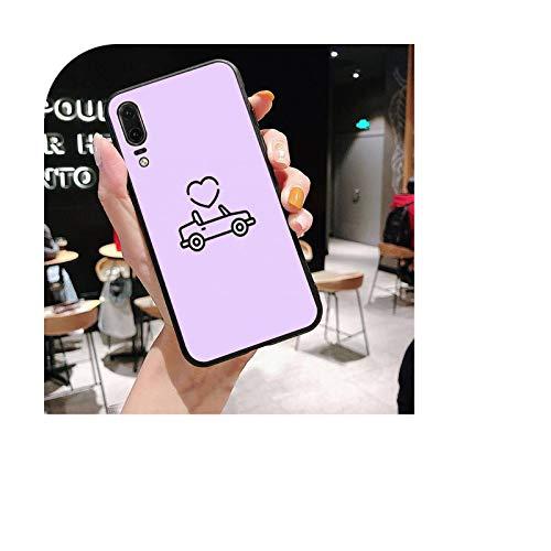 Fondo púrpura patrón de la funda del teléfono para Huawei P20 lite P40 lite mate 10 20 lite P20 pro P smart 2019 Y7 P30 lite caso-a12-Para P40