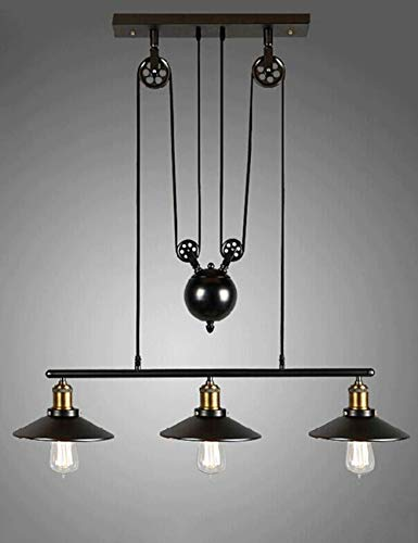Gweat Flaschenzug Retro industrieller Leuchter 3 beleuchtet für Gaststätteclub Stab Café Dachboden Wohnzimmer Studienzimmer, Eisen hängende helle schwarze Farbweinlese Beleuchtung nordischer Art E27