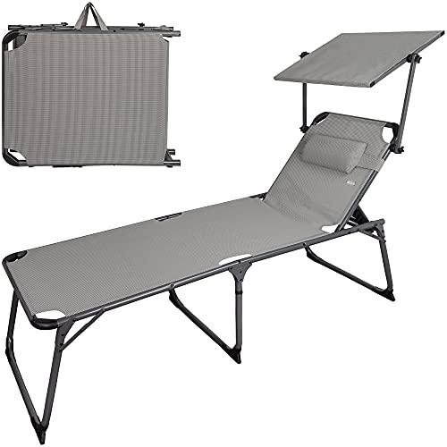 Aktive 62613 - Tumbona plegable de playa con parasol, Tumbona de playa con cojín, 193 x 67 x 85 cm, altura del asiento 48 cm, color gris, tumbona plegable, 5 posiciones, peso máx 100 kg, Aktive Beach