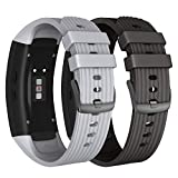 NotoCity Compatible Samsung Gear Fit2 Pro Band Solft Silicone Gear Fit2 Watch Strap Samsung Gear Fit2 Pro Smartwatch Bands Man Women(Black/Grey, Large)