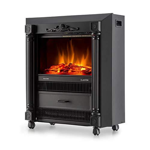 Klarstein Grenoble Elektrischer Kamin Retro Design Kamin-Ofen (leise mit lodernden Flammen-Effekt, mobil mit Bodenrollen, 2000W Quarz-Heizlüfter) schwarz - 4