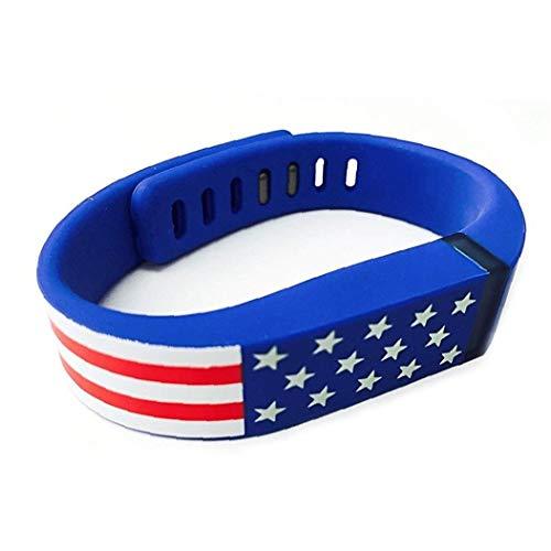 Reemplazo de Smart Band para el patrón de la bandera americana de las barras de Fitbit Estrellas EE.UU. banda de silicona pulsera de la venda para hombres y mujeres - regalos azules para los amigos