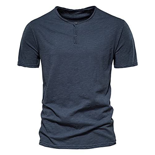 SSBZYES Mens T-Shirt Summer Mens Short Sleeve T-Shirt Solid Color Short Sleeve 100% Cotton Mens Casual Slim Round Neck Cotton T-Shirt Navy