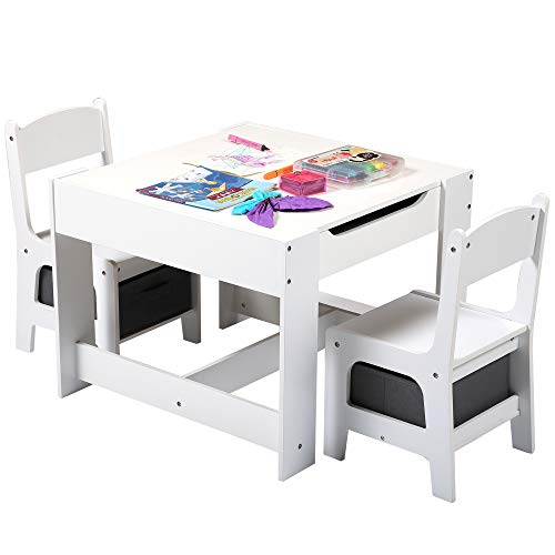 Sandinrayli 3-in-1 Kid Table and 2 Chairs Set w/Storage Drawer, Toddler Activity Desk & Chair Set, Detachable Blackboard, for Drawing Reading Art Playroom (White + Grey)
