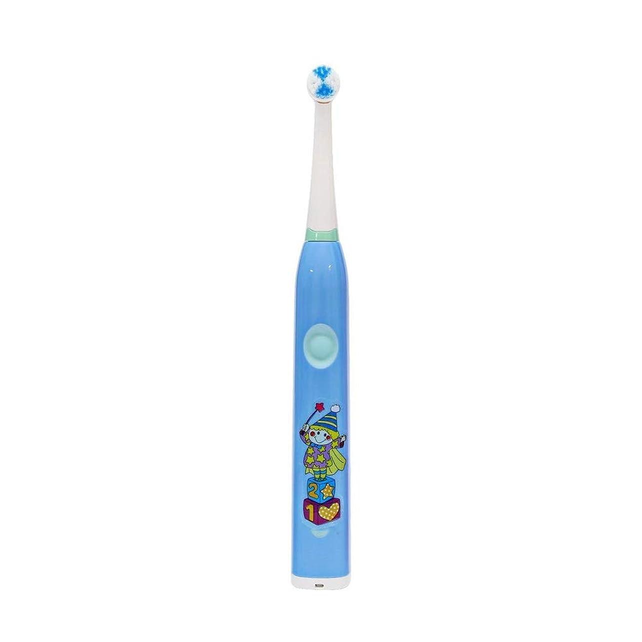咲く学習者換気電動歯ブラシ, 子供用電動歯ブラシかわいいUSB充電式歯ブラシ (色 : 青, サイズ : Free size)
