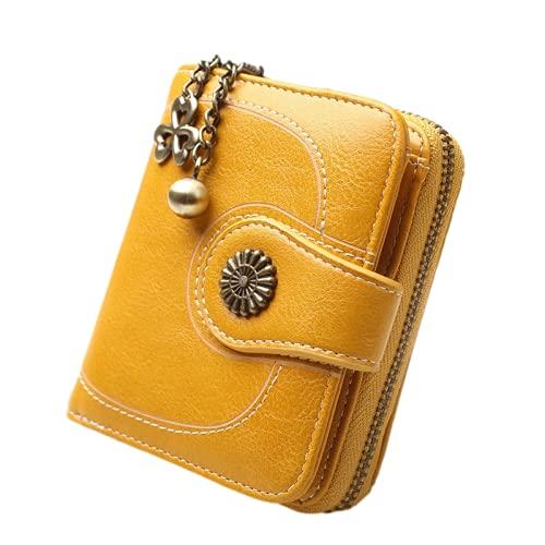 Cartera para tarjetas de crédito, piel de cera, cartera corta, tres plegables, para mujer, piel de aceite, bolsa de mano, bolsa para tarjetas, Amarillo (Amarillo) - SSllKKA-41