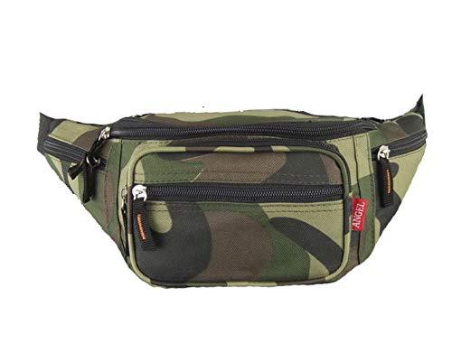 Treend24 Bauchtasche Camouflage Militär mit 6 Fächer Hüfttasche Anti Diebstahlt Tasche für Freizeit Sport Wanderung Fahrrad Damen Herren Multifunktion Tasche (Camouflage 1#)