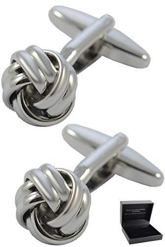 COLLAR AND CUFFS LONDON - HOCHWERTIGE Manschettenknöpfe mit Geschenk Box - Knoten - Stilvolle Messing - Nur 12 mm Durchmesser - Runde - Silber Farbe