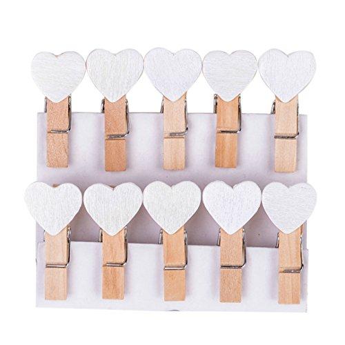 Niedliche Mini Holz Wäscheklammern Herz Holzklammer Foto-Halter Dekoration (30 Stück, Weiß)