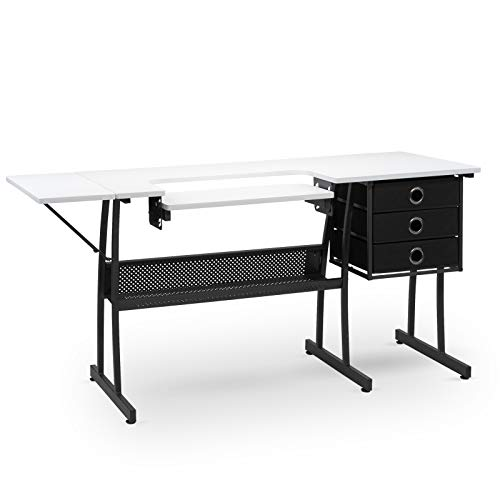 TUFFIOM 60-Inch Sewing Craft Table, Specialized Sewing Machine Shelf, Enlarged Cutting Space, Sturdy Multifunctional Computer Desk with 3 Storage Drawer, Adjustable Height, Ideal for Home Indoor Use