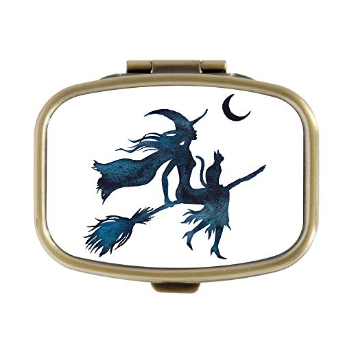 Pill Box - Halloween Vliegende Heks op een bezem - Decoratieve Pill Case met Gift Box - Pocket Rechthoekige Brons RVS Medicine Tablet Houder Organizer Pill Case voor portemonnee