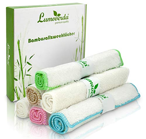 100% zero waste: Premium Bambus Tücher im 6er Pack - saugstarke Bambus Putztücher - Putzlappen ohne Mikrofaser - waschbare Bambustücher für Küche/Spiegel/Bad