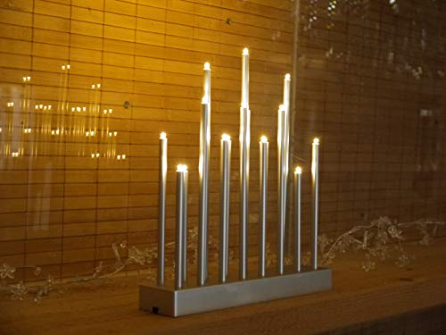 2 x LED Stimmungsleuchten 19 flammig Dekoleuchte Dekolampe Fensterbeleuchtung (silberfarben)