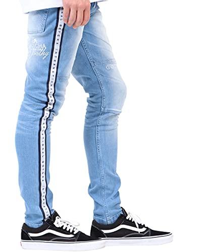 [ガッチャ] GOTCHA ジーンズ サイドロゴ ライン ウエスト リブ ストレッチ デニム パンツ 211G1800 ブリーチ XXL