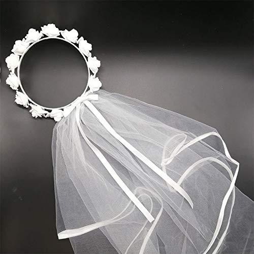 Ghirlanda per capelli da sposa con fiore bianco e corona per capelli con corona regolabile con lacci e nastro per addio al nubilato