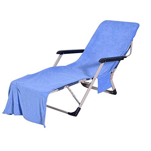 HONGBI Sonnenliege Handtuch, Schonbezug für Gartenliege Liegestuhlauflage,Strandtuch für Liegestuhl, Liegestuhl Bezug mit Seitentasche Blau 73X210CM