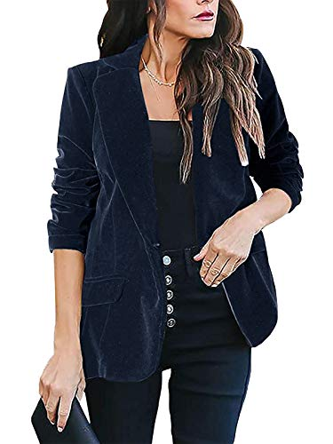 kenoce Womens Casual Velvet Blazer Long Sleeve Lapel One Button Coat Basic Slim Work Office Jacket with Pockets E-Blue Large