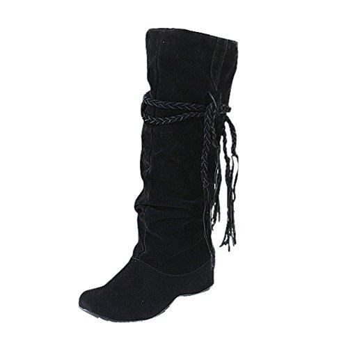 BHYDRY Schuhe Damen Mittlere Stiefel Erh?Hen Sie Die Oberschenkelh?He Tessals Stiefel Motorrad Quaste Elegant Schuhe(38 EU,Schwarz)