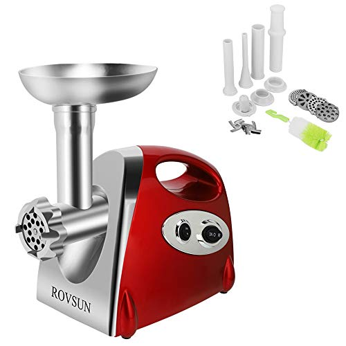 ROVSUN Electric Meat Grinder, 800W Stainless Steel Mincer Sausage Stuffer, Heavy Duty Food Processor with 4 Grinding Plates - 3 Sausage Tubes - 2 Blades - Kubbe Attachment & Brush