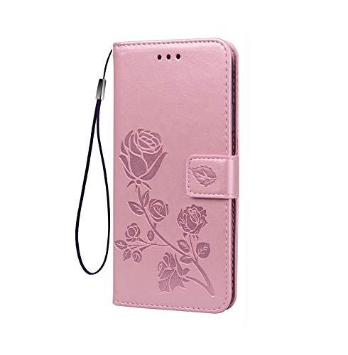 LEYAN Funda para Xiaomi Redmi 9C NFC Funda, Leather Folio Carcasa con Billetera, Flor Rosa 3D, Magnética Premium TPU/PU Cuero FILP Case Cover con Soporte/Tapa Tarjetas, Oro Rosa
