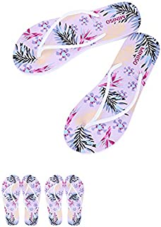 Miniso Women's Floral-print Flip Flops (White+Black+Purple+Red)[L[40/41]]