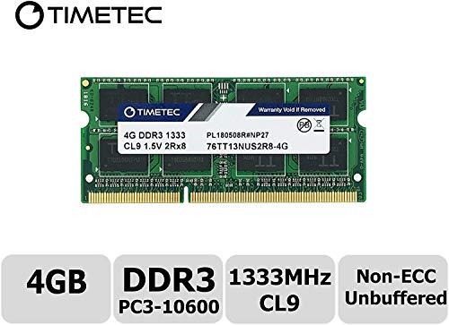 Timetec Hynix IC 4GB DDR3 1333MHz PC3-10600 Unbuffered Non-ECC 1.5V CL9 2Rx8 Dual Rank 204 Pin SODIMM Portatil Memoria Principal Module Upgrade (4GB)