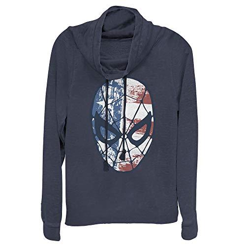 Junior's Marvel Fourth of July Spider-Man American Flag Mask Cowl Neck Sweatshirt - Navy Blue - Medium