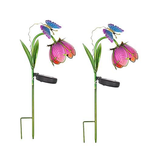 Sogaml Juego de 2 luces de jardín, luces de flores LED solares con flor y mariposa, lámpara de luz de jardín para jardín, patio, decoración de casa