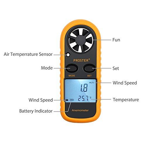 Proster Anemómetro Termómetro Digital de Pantalla LCD Medidor de Velocidad...
