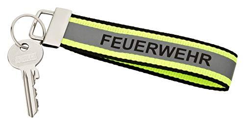 Feuerwehr Schlüsselanhänger 140x30mm schwarz mit gelb Silber gelb Optik, reflektierendem Streifen und Schlüsselring