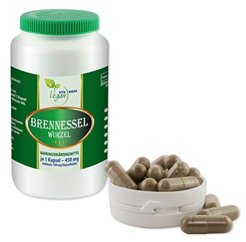VITAIDEAL VEGAN® Brennessel Wurzel 360 pflanzliche Kapseln je 450 mg, rein natürlich ohne Zusatzstoffe.