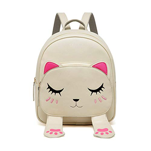 BizarreVogueCuteSmallCatStyleBackpackforGirlsCreamBV1204