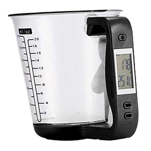 Bonarty Balances à Mesurer Électroniques, Bol Mesureur en Verre pour Cuisine, Capacité de Poids de 1Kg - 16x12.5x13.6cm - Noir