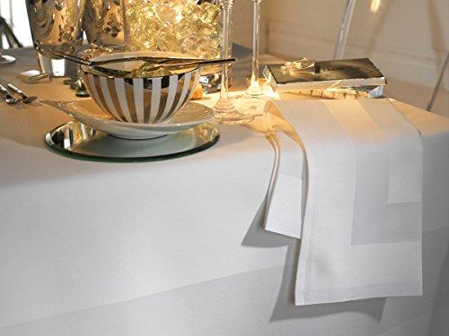 Musbury, elegante tovaglia in 100 % cotone, con fascia satinata, tinta unita, colore bianco, Cotone Satin Lino 100% cotone, White, 178/365cm