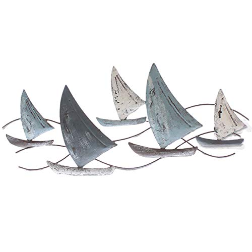 Wanddeko Fische oder Segelschiffen aus Metall L 47 cm (Segelschiffe)